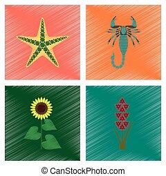 assembly flat shading style illustration starfish Scorpio...