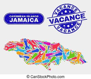 Assembly Jamaica Map and Grunge Vacance Watermarks