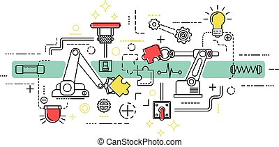 Assembly line art with isolated elements and icons combined in colored composition vector illustration