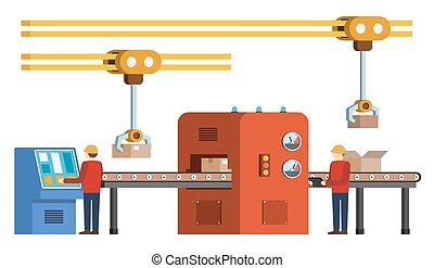 Assembly line. Automated conveyor system. - Automated...