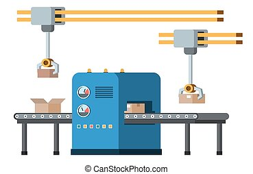 Automated assembly line. Automatic production conveyor. Robotic industry concept. Vector illustration