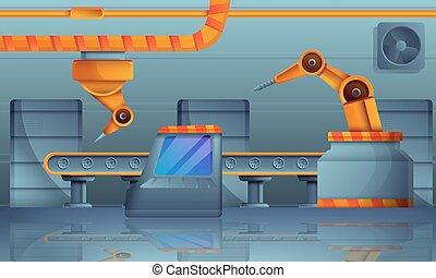 Assembly line concept banner, cartoon style
