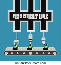 Assembly line poster. Industrial machinery. Business...
