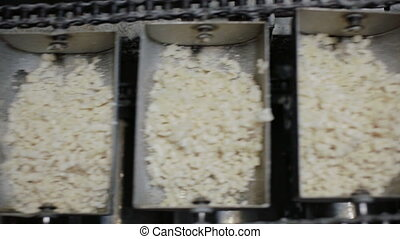 Assembly line with slices of soap - Assembly line with soap