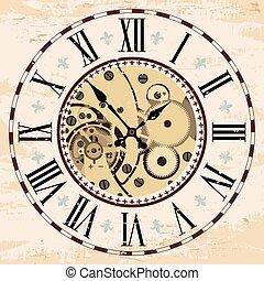 assembly., mecanismo, relógio