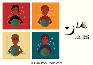 assembly of flat icons on theme Arabic business woman and economic graph
