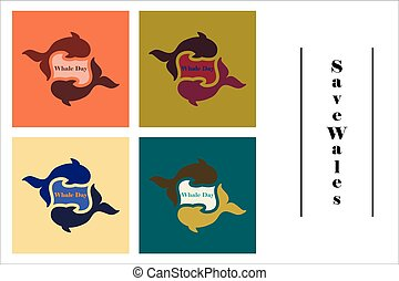 assembly of flat icons on theme Save whales . Whale family