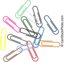 Assembly of paper clips of the various form, size and colour.