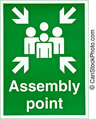 Assembly point - Green fire assembly point sign