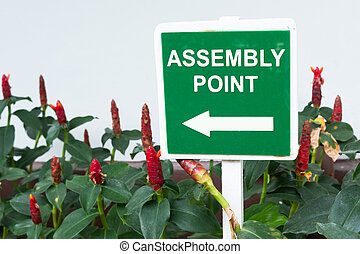 Emergency assembly point sign board