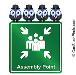 Assembly Point sign - Comical Assembly Point sign isolated...