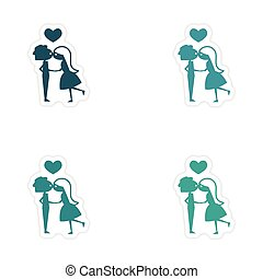 assembly realistic sticker design on paper Girl kisses boy