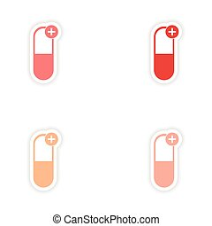 assembly realistic sticker design on paper pills medicine
