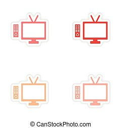 assembly realistic sticker design on paper tv