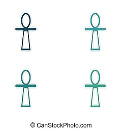 assembly realistic sticker design on paper ancient Egypt ankh