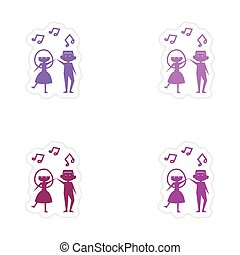 assembly realistic sticker design on paper couple dancing