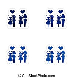 assembly realistic sticker design on paper couples love