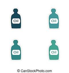 assembly realistic sticker design on paper oil bottle