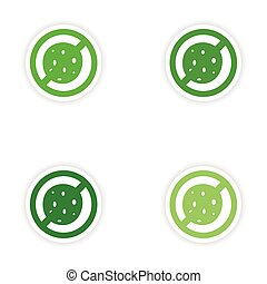 assembly realistic sticker design on paper viruses