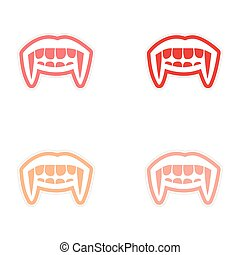 assembly sticker vampire bright smile on white background
