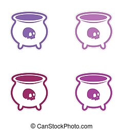 assembly sticker witches cauldron with a skull on white background