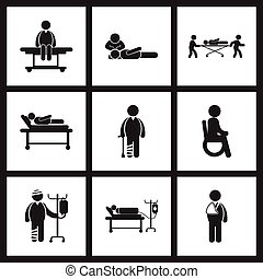 assembly stylish black white icons Patients and health care