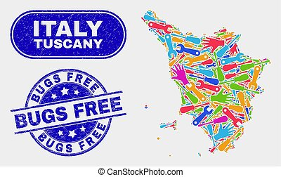 Assembly Tuscany Region Map and Distress Bugs Free Stamps - ...