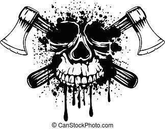 assen, gekruiste, schedel