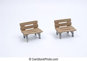 assento, brinquedo, ligado, um, branca, costas, chão