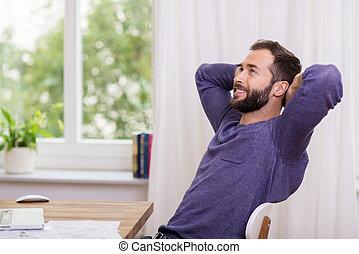 assento homem, daydreaming, escritório