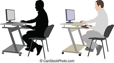 assento homem, frente, computador