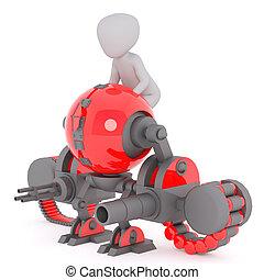 assento homem, ligado, matança, robô