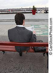 assento homem, ligado, um, banco