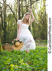 assento mulher, balanço, jovem, ao ar livre, vestido branco