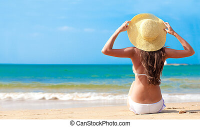 assento mulher, chapéu, costas, jovem, biquíni, flor, closeup, praia, vista