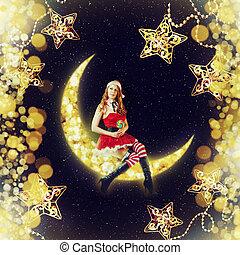 assento mulher, claus, lua, santa, natal