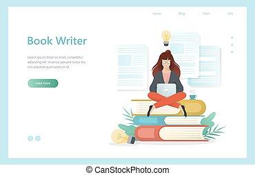 assento mulher, concept., escritor, livro, laptop