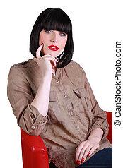 assento mulher, contemplar, câmera, cadeira, vermelho