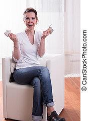 assento mulher, dinheiro, poltrona, contagem, feliz