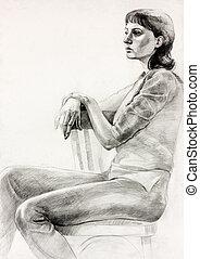 assento mulher, esboço