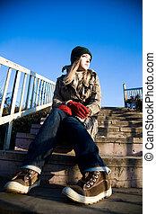 assento mulher, escadas