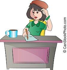 assento mulher, ilustração, escrivaninha, ou, secretária