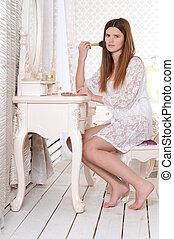 assento mulher, jovem, vestindo, retrato, tabela