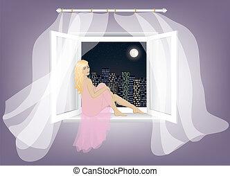 assento mulher, ligado, a, janela