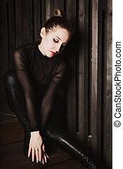 assento mulher, ligado, escadas