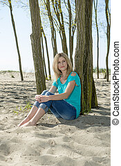assento mulher, ligado, praia