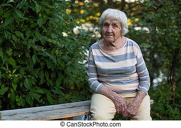 assento mulher, madeira, idoso, banco, park.