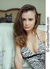 assento mulher, padrão, topo, leopardo, jovem, gato, experiência., quarto