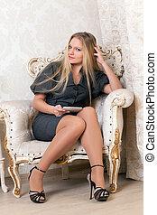 assento mulher, poltrona