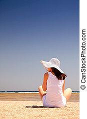 assento mulher, praia